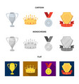 a silver cup a gold crown with diamonds a medal vector image vector image