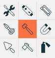 apparatus icons set with battery ax extinguisher vector image vector image