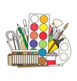 Art and back to school Supplies- paint brushes vector image