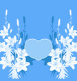 blue and white lily love card wedding invitation vector image vector image