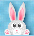 blue background with dots and cute rabbit vector image
