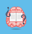 brain with book and questions symbols vector image vector image