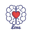 brain with heart love vector image