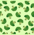 broccoli vegetables seamless pattern on green vector image
