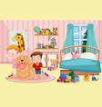 children and pet dog in bedroom vector image vector image