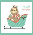 christmas sloth sitting in sledge vector image vector image