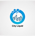 city liquid with pure blue water in circle logo vector image vector image