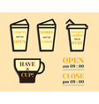 Coffee signs Open and Closed elements Fathers Day vector image vector image