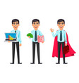 confident business man set three poses vector image vector image