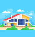 cottage against blue sky and juicy green grass vector image vector image