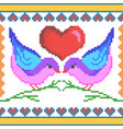 cross stitch embroidery love bird design vector image vector image