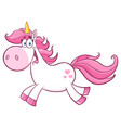 cute magic unicorn cartoon mascot character vector image vector image