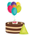 delicious sweet cake with cherries and balloons vector image