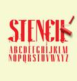 display stencil sans serif font vector image vector image
