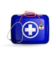 first aid box with stethoscope on white background vector image vector image