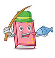 fishing diary mascot cartoon style vector image
