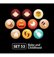 Flat icons set 53 - baby and childhood vector image