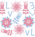 flower and letters seamless pattern it is located vector image vector image