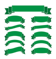 Green banners set blank decoration ribbons vector image vector image