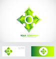Green cross arrow head logo vector image vector image