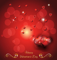 greeting card with two hearts valentines day vector image vector image