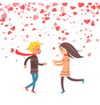 happy couple holding hands hearts of paper vector image