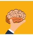 Human organ Brain and hand icon graphic vector image vector image