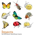 Insects 9 Elements Set Seamless Pattern vector image