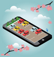 isometric cars in the car parking spring time vector image