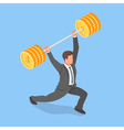 isometric concept of businessman holding barbell vector image vector image