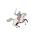 Knight Riding Horse Sword Cartoon vector image vector image