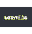 learning word text logo design green blue white vector image vector image