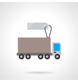 Lorry vehicle with label flat icon vector image