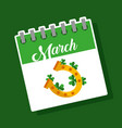 march calendar gold horseshoe clover st patricks vector image vector image