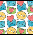 message mail love heart speech bubble pattern vector image vector image