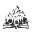 Open book with forest and mountains