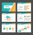 Orange and green presentation templates Set vector image vector image