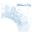 outline oklahoma city skyline with blue buildings vector image