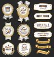 retro vintage golden badges labels badges and vector image vector image