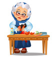 sad animated old lady glued up the broken vector image