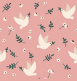 seamless pattern with doves flowers and leaves vector image vector image