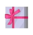 Silver Gift Box with Pink Ribbon vector image vector image