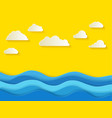 sunny summer day with white clouds sea background vector image vector image