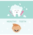 Tooth holding toothpaste and toothbrush Bubbles vector image vector image