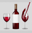 transparent wine bottle and wineglasses mockup vector image