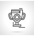Trophy cup black line icon vector image