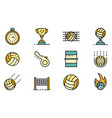 volleyball icons set flat vector image vector image