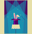 white rabbit in magical hat old poster of magic vector image vector image