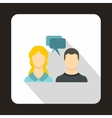 Woman and man with speech bubbles icon vector image