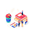 work process - modern isometric colorful vector image